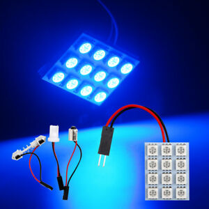 100pcs Blue 5050 12smd T10 Ba9s Festoon Panel Lights Led Car Interior Dome Light