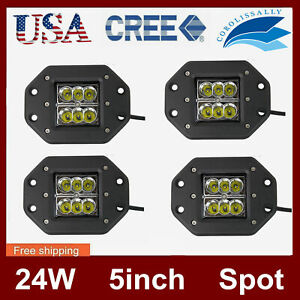 4x 5 24w Square Cree Led Work Light Flush Mount Offroad Truck Jeep 4x4wd 12v24v