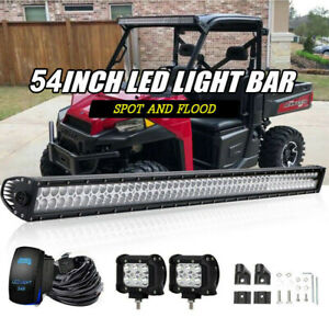 For Polaris Ranger 900 1000 570 Full Size 52 Curved Led Light Bar Upper Roof
