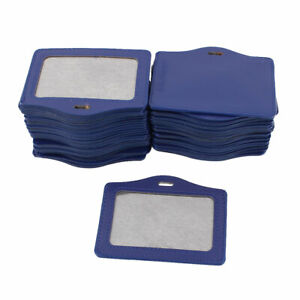 Faux Leather Office Horizontal Business Id Badge Card Holder Blue 50pcs