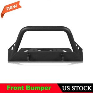 Black Coated Steel Front Bumper For 1987 2006 Jeep Wrangler Tj Yj W Winch Plate
