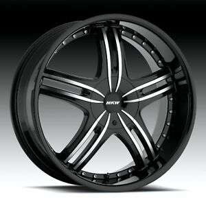 4 Mkw M105 18x7 5 4x100 4x114 40mm Black Machined Rims Wheels