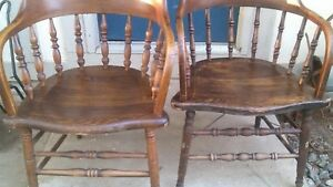 2 Vintage Heywood Wakefield Firehouse Captain Bow Smoking Chair Antique Windsor