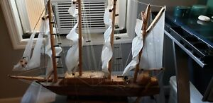 3 Ft Wood Model Ship Vintage With Light Feature