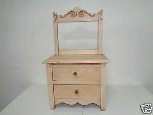 Vintage Miniature 2 Drawer Dresser Salesman Sample Doll Bureau Chest Of Drawers