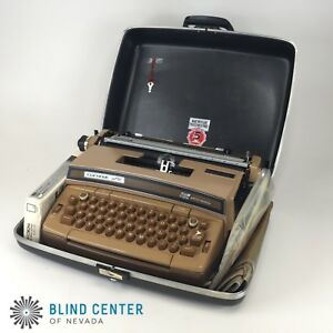 Vintage Smith Corona Coronet Super 12 Electric Typewriter Brown In Case Tested