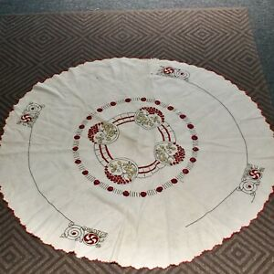 Antique Stickley Era Arts Crafts 3d Embroidered Lg Table Round Oatmeal Linen