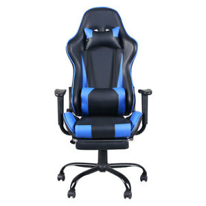 High Back Home Office Gaming Chair Computer Seat With Headrest Blue