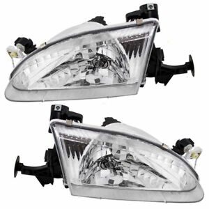 1998 1999 2000 Toyota Corolla Head Lamps Left Right Pair