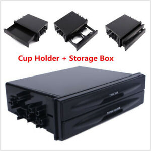 Double Din Dash Radio Installation Pocket Cup Holder Storage Box For Car Suv