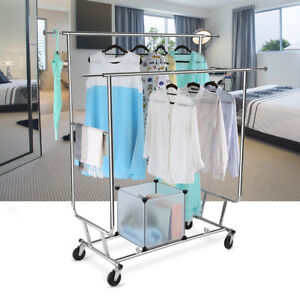 Garment Collapsible Adjustable Double Rail Rolling Clothing Drying Hanging Rack