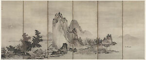 Japanese Screen Painting Sansui Sumi Ink Mountain Landscape And Figures Story 2