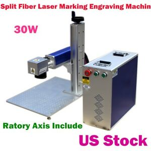 30w Split Fiber Laser Marking Engraving Machine Ratory Axis Include usa Stock