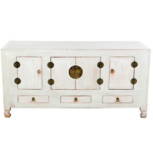 Antique Chinese 61 Long Buffet Sideboard Cabinet 30 Tall Pale Gray Finish