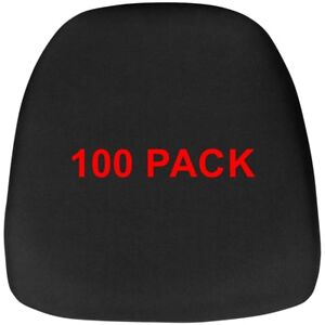 100 Pack Hard Black Fabric Chiavari Chair Seat Cushion For Wood And Resin Chairs