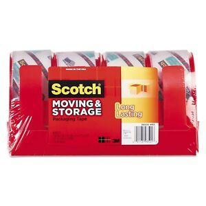 Scotch Moving Storage Tape 1 88 X 38 2yds 3 Core Clear 4 Rolls pack