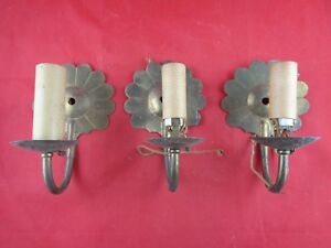 Vintage Brass Electric Scalloped Wall Sconce Fixtures Lot Of 3