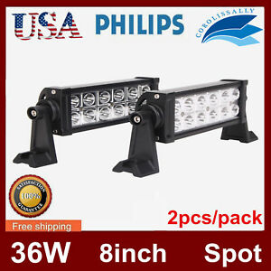 2x 8inch 36w Led Work Light Bar Spot Beam Driving Offroad Boat 4wd Atv Philips