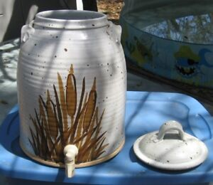 Vintage Stoneware Jug Dispenser Beehive Decorated With Cattails Free Shipping