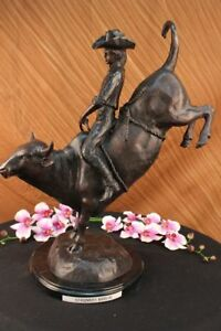 Frederic Remington Cowboy Riding Bull Rodeo Marble Base Bronze Sculpture Statue