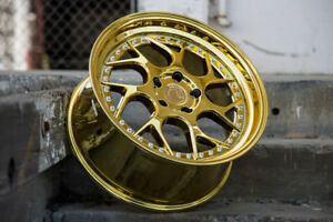 Aodhan Ds01 18x8 5 18x9 5 35 5x100 Gold Vacuum Chrome Staggered set Of 4