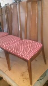 Mid Century Danish Modern Style High Back Walnut Dining Room Table Caned Chairs