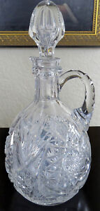 Beautiful Vintage Antique Victorian 10 Brilliant Cut Glass Decanter Pitcher