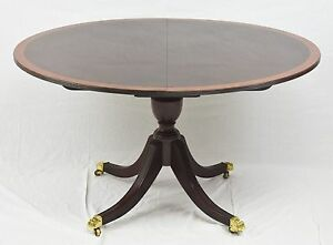 Stickley Mahogany Dining Room Breakfast Table Banded With Two Leaves
