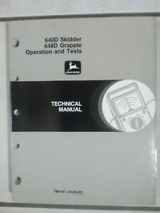 John Deere 640d 648d Grapple Skidder Operation Test Repair Manual Tm1441