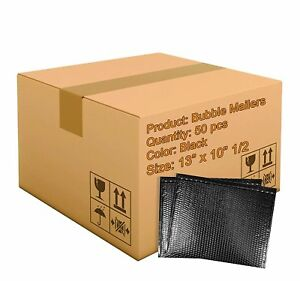50 Pack Metallic Bubble Mailers 13 X 10 5 Black Padded Envelopes 13 X 10