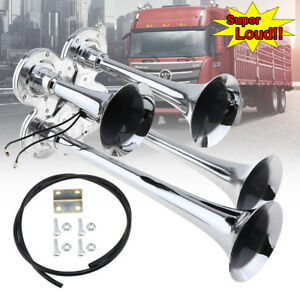 Chrome Four 4 Trumpet Air Horn 12v 24v 150db Super Loud For Car Train Truck Boat