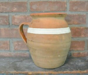 Antique Redware Earthenware Clay Milk Pitcher