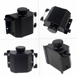 Black 1 L Aluminum Coolant Radiator Overflow Recovery Water Tank Bottle 35mm Id