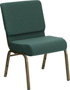 10 Pack 21 Wide Green Dot Fabric Stacking Church Chair With Gold Vein Frame