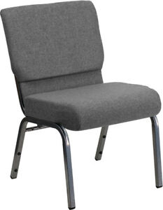 10 Pack 21 Wide Gray Fabric Stacking Church Chair With Silver Vein Frame