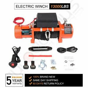 13000lbs Electric Winch 12v Waterproof Truck Trailer Synthetic Rope 4wd W Cover