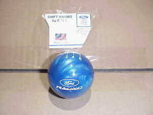 Ford Racing Custom Engraved 6 Speed Licensed Shift Knob blue Pearl