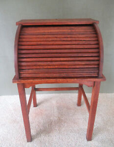 Antique Desk Roll Top Vtg Child S Oak Wood Interior Cubbies Original Finish