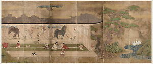 Japanese Antique Screen Painting Horse In Stable Samurai Enjoy Amusement Aside 2
