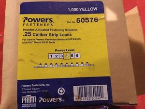 Box Of 1000 Yellow Hilti powers 25 Cal Boosters Shot Load Strips For Dx35