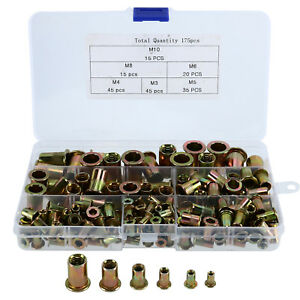 175pc Rivet Nut Kit Mixed Zinc Steel Rivnut Insert Nutsert Threaded Case M3 m10