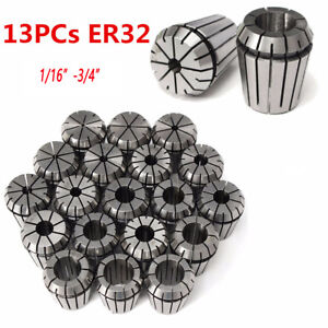 13 Pc Er 32 Collet Set 1 16 3 4 Spring Collets R8 Cat Bt Cnc Runout With Box Ma