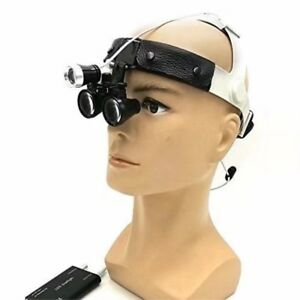 Dental 3 5x Binocular Loupes Leather Headband Magnifier With 3w Led Headlight