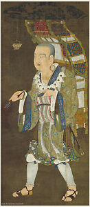 Chinese Antique Painting On Silk Thangka Buddhist Monk Xuan Zang On Journey Home