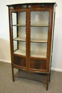 Antique English Two Door Mahogany Curio Cabinet Circa 1900