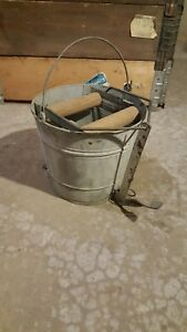 Vintage Wash Bucket Galvanized Metal Mop Wringer Wood Rollers Steampunk