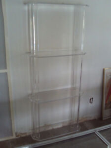 Mid Century 4 Tier Lucite Shelving Unit Display