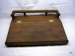 Vintage Wooden Slant Top Writing Desk With Spindle Rail With Pencil Holder