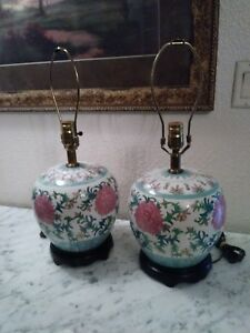 Vintage Ginger Jar Table Lamps Famille Rose Chinese Porcelain Pair Floral Lamps
