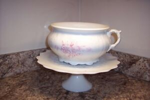 Smith Phillips Antique Semi Porcelain White Pink Flowers Chamber Pot